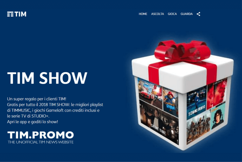 Tim show regalo di natale per i clienti tim mobile tim for Regalo mobile tv