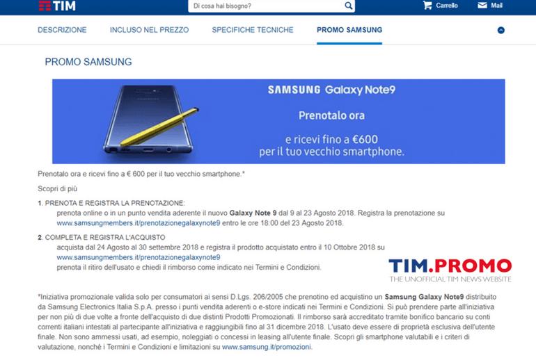 Samsung Galaxy Note 9 Prenota con TIM e Ricevi 600€