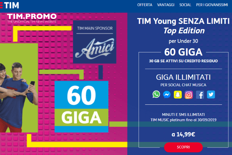 Offerta TIM Young Senza Limiti Top Edition a 14,99€