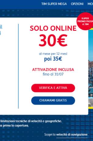 Tim Super Mega: Promo Passa a TIM a 30€/mese